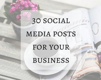 30 Social Media Posts, Write Your Social Media Posts, Facebook Marketing, Social Media Marketing, Social Media Support For Etsy Shops