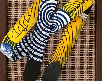 African wax print guitar strap -- blue, yellow and white