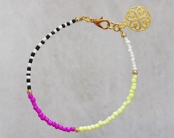 Charm bracelet Stackable bracelet Friendship bracelet Summer bracelet Neon bracelet Fuchsia bracelet Minimalist bracelet