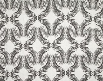 Linen Fabric By the yard Feathers Dark Grey on Ivory