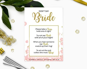 Gold and Pink Dont Say Bride Game-Glitter Floral DIY Printable-Personalized Bridal Shower Games-Bridal Shower Ring Game-Take a Ring Game