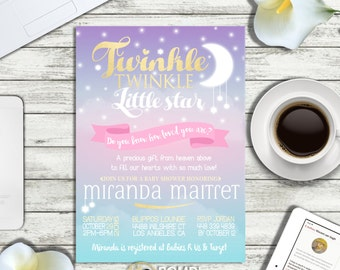 PRINTABLE || Twinkle Twinkle little star Baby shower invitation|| Optional backside|| Optional Raffle tickets|| Any occasion, any wording!!