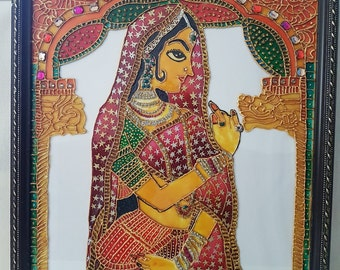 Rajasthani lady glass painting