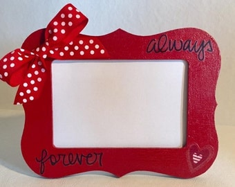"4X6 Black and Red Decoupage ""Always and Forever"" Frame"