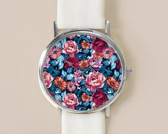 Floral Watch, Blue Floral Jewelry, Vintage Floral Leather Watch, Women Watches, Roses , Gift for her, Floral Print, Watches, Gift