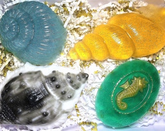 "Seashells Soap,Soap Gift Set ""Undersea world""(Part 3). Seashells Soap and Sea Horse Soap 4 Bars of Soap.Sea Soap,Ocean Soap"
