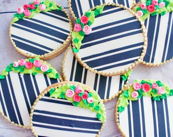 Round Black and White Striped Rosebud Vanilla Bean Sugar Cookies - One Dozen