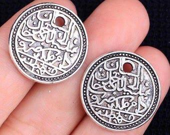 Pair -  20X20mm  Antique Tibetan Silver Charms Cyrrilic Coin D27
