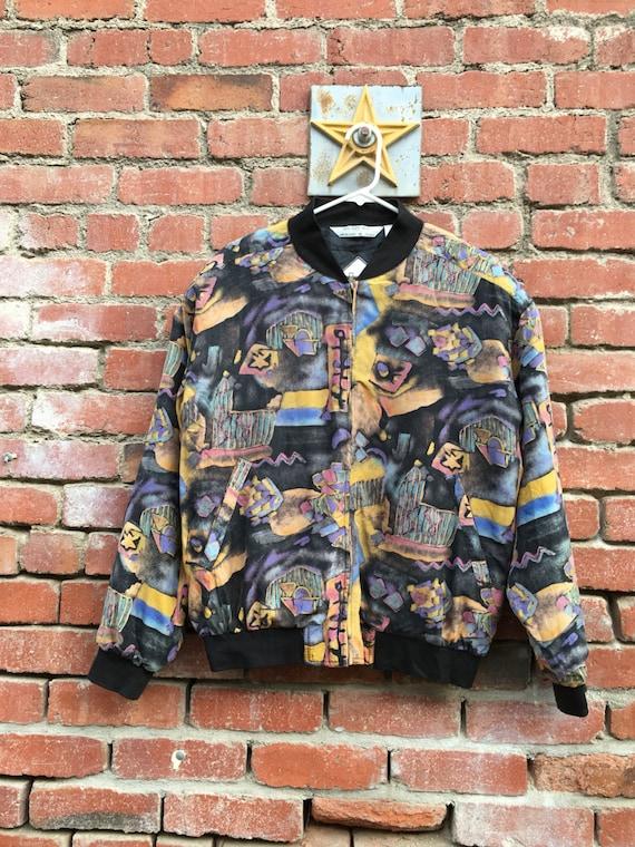 Rap Royalty Silk Bomber Windbreaker// 80s 90s Silk Patterned Bomber Jacket Small Medium