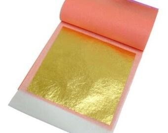 24 karat Edible Gold Leaf by Slofoodgroup 25 Sheets 24K Gold Leaf Per Pack  Gold sheets  3.15in x 3.15in Loose leaf Edible Gold