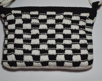 SALE!! Black and white, chess color, handmade purse, knitted shoulder bag, daily combinations, evening look