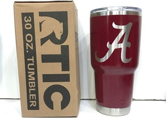 Custom Powder Coated 30 or 20 oz RTIC Rambler/Tumbler/Cup University of Alabama Crimson Tide Personalized Add Your Name