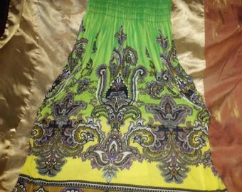 Abstract Green Dress one size fits all
