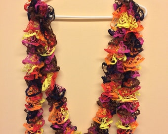 Long Hand KNITTED RUFFLE SCARF Fashion Starbella Women's Accessory - Camp Fire