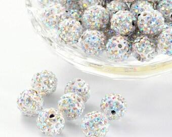 50 beads, AB Crystal Rhinestone Clay 10mm Pave beads