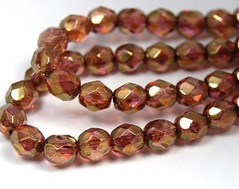 50/pc Rose Gold Topaz Luster Czech 6mm Fire-polished Faceted Round Beads