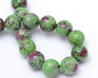 """Two 15.5"""" strands Ruby in Zoisite Beads 12mm"""