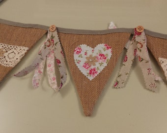 shabby chic,jute bunting.Double sided  155cm from flag to flag ,9 flags