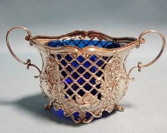 Antique Sterling Open Sugar Bowl with Cobalt Glass Insert, Sterling Silver, Hallmarked Alexander Clark Birmingham 1906