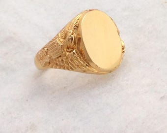 Men's Vintage Gold Filled Signet Initial Rings with Eagles on Shoulders, UNCAS, size from 6 to 10.