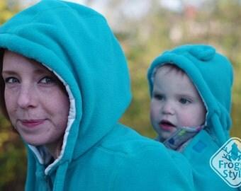 Tandemwearing, Extra baby insert for 3-in-1 Front/Back FLEECE Babywearing Jacket /coat FROGGY STYLE, kangaroo hoodie, teal, maternity