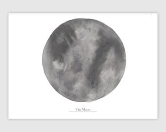 The Moon   DIN A4   Moon Watercolor   Moon Print   Moon Art Print   Universe Print   Moon Gift   Grey Wall Decor   Moon Decal   Moon Artwork