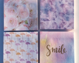 Super cute post it notes. Feather post it notes. Rose post it. Flamingo. Smile post it note. Positive.