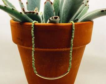 Sage Green Beaded Necklace / Seed Bead Necklace/ Gold Plated Tube Necklace