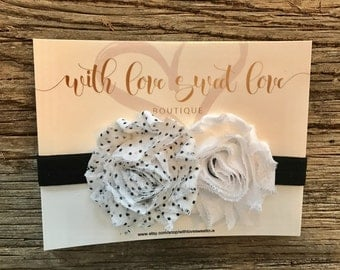 Black & White Flower Elastic Baby Headband