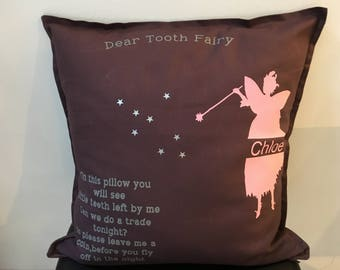Large Personalised child's tooth fairy scatter cushion gift keepsake