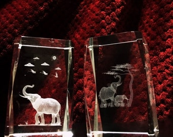 ON SALE Vintage Clear Crystal Elephants Laser Etched Paperweights