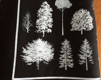 Linen Cotton fabric, Print fabric, Modern fabric, repeated print, black linen fabric, white black fabric