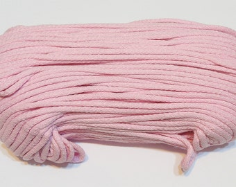 Pink cotton cord 100 m (110 yd) 5 mm (0,2 in), cotton rope, macrame cord