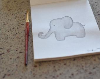 Baby Elephant Original Watercolor