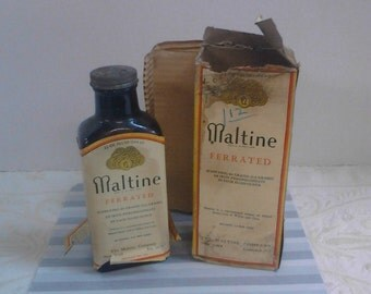 Vintage Maltine Ferrated Bottle In Box