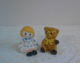 Avon Doll and Bear Salt and Pepper Shakers