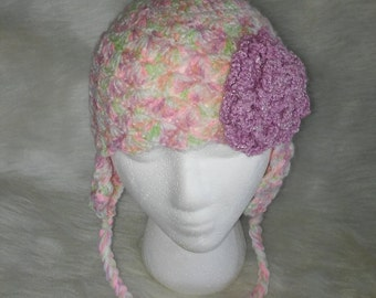 Girl's Multicolored Lacey Earflap Hat with Flower