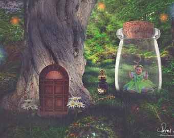 Fairy in a Jar Digital Backdrop - Forest - Fantasy Background - Magical - Enchanted - Tree - Newborn, Toddler, Child  Photography Prop.