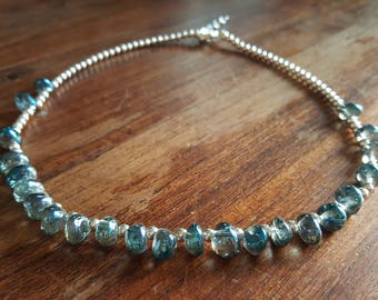 Blue teardrop and silver beaded necklace