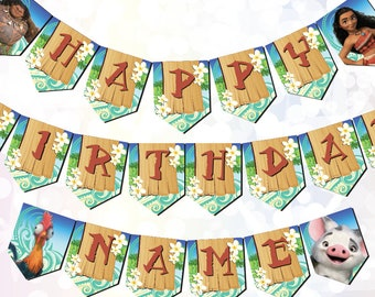 Moana Party Supplies Bunting customizable Digital Download Printable Moana Birthday