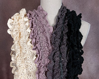 Ruffles Long Lace Scarf with Pom Poms