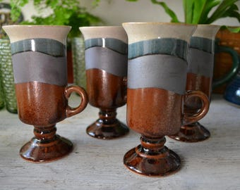 Vintage Stoneware Pedestal Mugs set of 4 earthy/bohemian/kitchen/drinkware/coffee cups