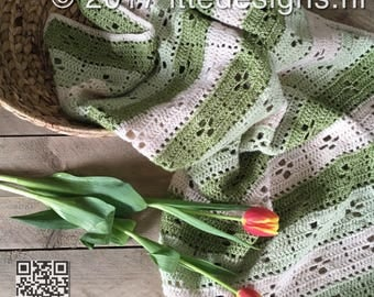 Baby blanket/rug 110 x 75 cm, crochet ' Call the Midwife Green '-Ships Stonewashed