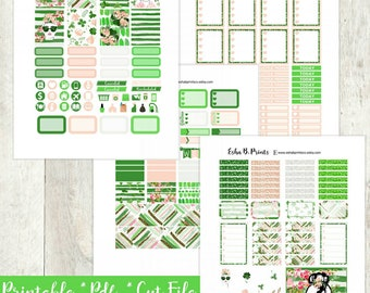 Kiss Me Im Irish Printable Planner Stickers/Weekly Kit/St. Patricks Day/For Use with Erin Condren/Glam Glitter Luck Green Clover Fashion
