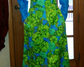 60's Empire waist tourquize with flower pattern dress