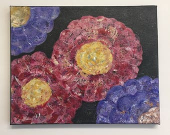 Acrylic Painted Flowers Small Canvas | kayohdesign