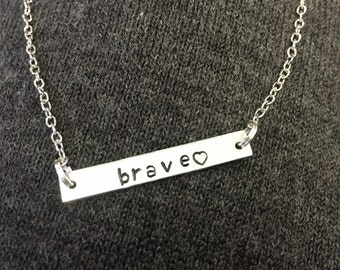 SALE! Bar Necklace Brave Heart