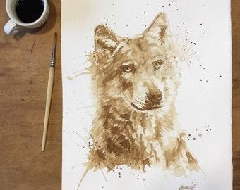 "Coffee wolf ORIGINAL 28x38 cm (11.02x14.96"" in)"