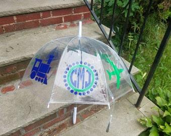 Monogram Umbrella, Clear Dome Umbrella, Children's Umbrella, kids gift, custom umbrella, kids umbrella, boys birthday