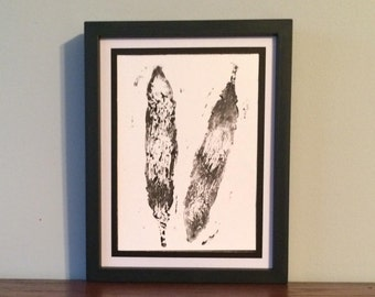 Double Shaking Feathers- Original Relief Print